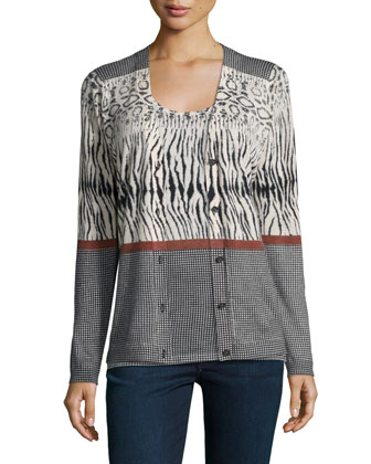 Animal-Stripe Cashmere Cardigan