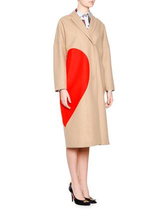 Heart Wool-Blend Coat & Long-Sleeve Paisley-Print Dress W/ Fringe