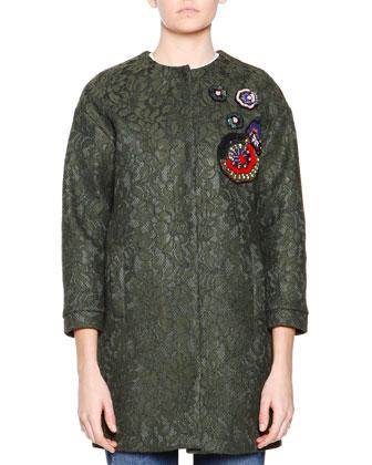 3/4-Sleeve Lace Coat W/ Beaded Applique, Ruffled Organza Top W/Flower & ...