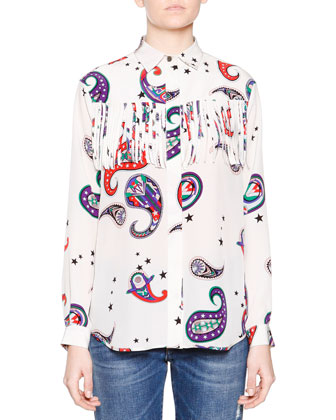 Long-Sleeve Paisley-Print Fringe Top