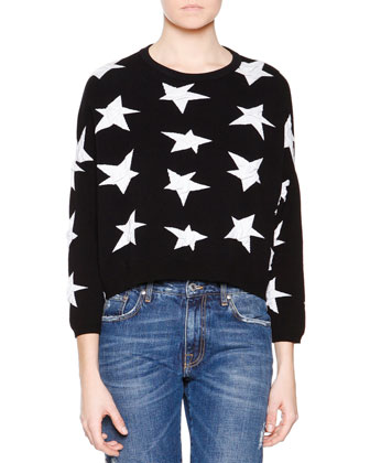 3/4-Sleeve Star Sweater & Denim Jeans with Paisley Patches