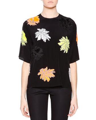 Short-Sleeve Flower-Applique Top