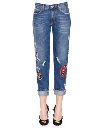 Long-Sleeve Paisley-Print Fringe Top & Denim Jeans with Paisley Patches