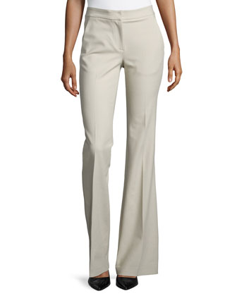 Anson Stretch Boot-Cut Pants, Oatmeal