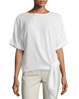 Cape-Sleeve Tie-Front Top, Ivory