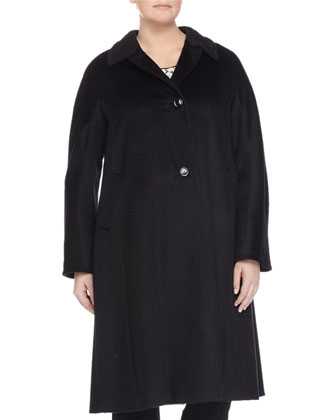 Talia Long Wool-Blend Coat, Lace & Knit Blouse W/ Flyaway Back & ...