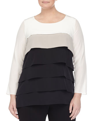 Long-Sleeve Colorblock Layered Blouse, Women's
