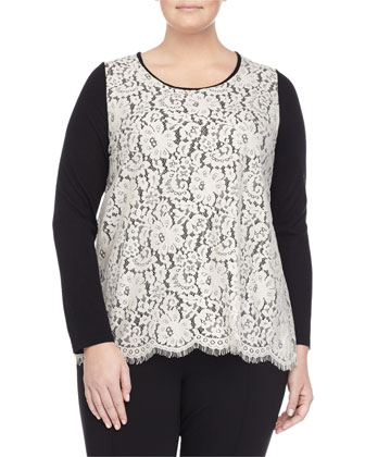 Long-Sleeve Lace & Knit Blouse W/ Flyaway Back, Women's