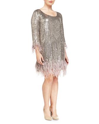 Fatato Sequined Dress W/ Feather Trim, Women's