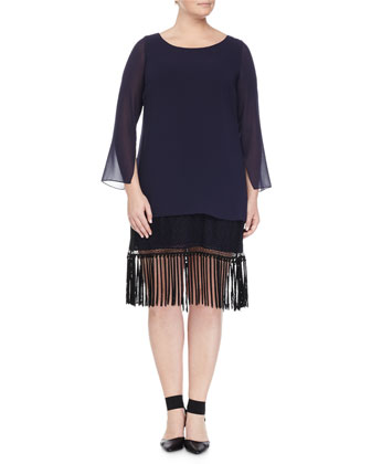 Fedele Layered Tunic W/ Fringe Trim & Lapponia Long Crystal Necklace, ...