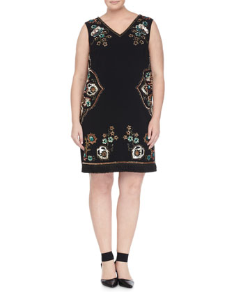 Tebe Half-Sleeve Open Coat & Diadema Floral-Beaded Dress W/ Attachable Sleeves