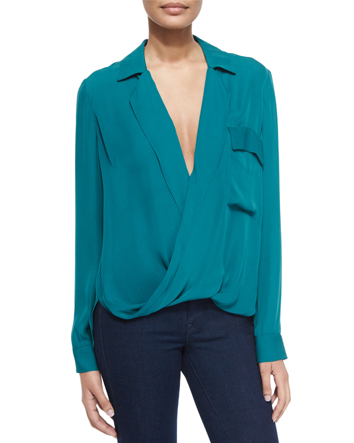 Lola Long-Sleeve Silk Blouse, Teal (Blue), Size: LARGE - L'Agence