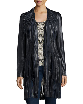 Adelle Fringe Leather Jacket, Black
