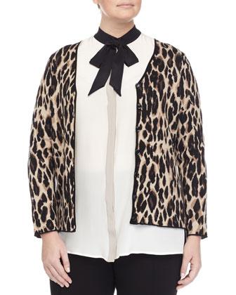 Mimo Animal-Print Jacket, Banchisa Bow-Neck Blouse & Raissa Slim-Leg Pants, ...