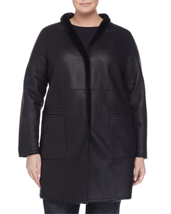 Edison Reversible Leather Shearling Fur Jacket, Bandiera Ruffle-Front ...