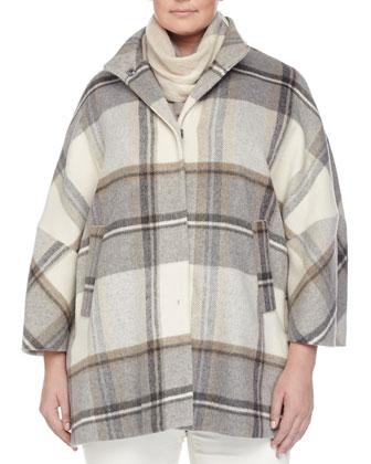 Naturale Plaid Cape Coat, Women's