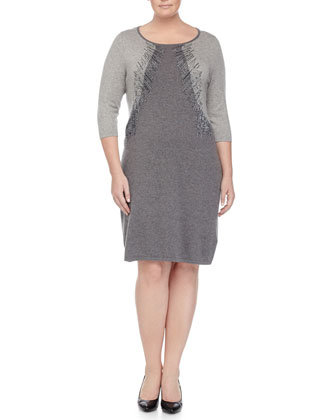 Ginseng 3/4-Sleeve Colorblock Knit Dress W/ Beading, Women's
