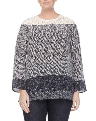 Albo Wool Poncho Jacket, Batavia Scarf-Print Silk Tunic Blouse & Igea ...