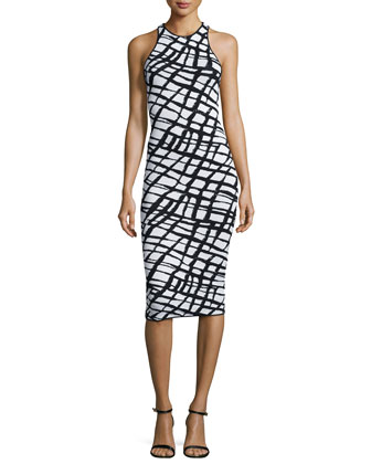 Esha Sleeveless Sheath Dress, Black/White