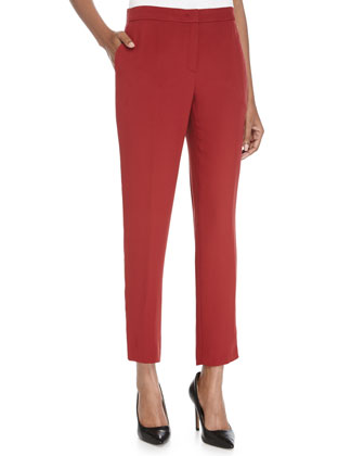 Tapered-Leg Cropped Pants, Vermillion