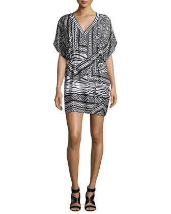 Hoffman Tribal-Print Chiffon Dress, Black/White