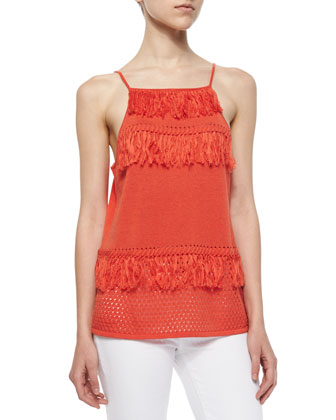 Manila Knit Fringe Tank, Blood Orange