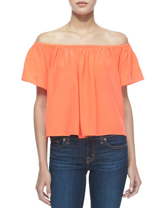 Hawi Silk Peasant Top, Blood Orange