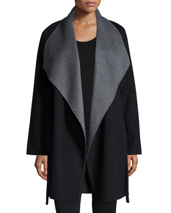 Cashmere Double-Face Two-Tone Wrap Coat