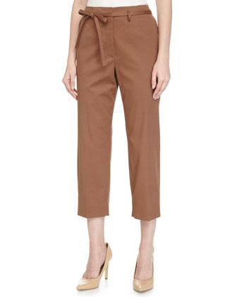 Low-Rise Woven Pants w/Belt, Vermillion