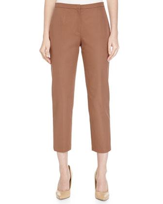 Capri Skinny-Leg Woven Pants, Noisette