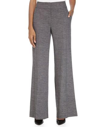 High-Rise Wide-Leg Pants, Black-Gray