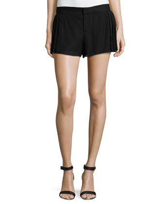 Pleated Waist & Side Shorts, Black