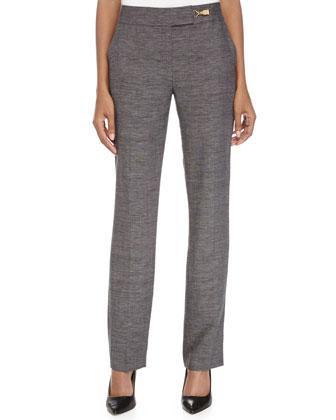 Narrow-Leg Mid-Rise Woven Pants, Black-Gray