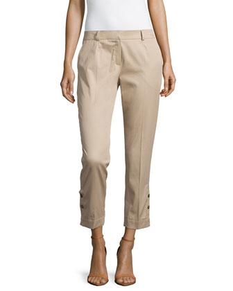 Low-Rise Slim-Fit Cropped Pants, Savannah