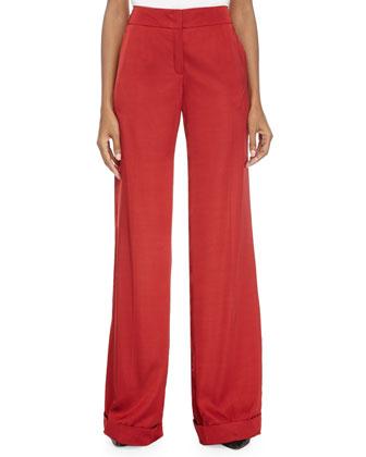 Wide Flare-Leg Pants, Vermillion
