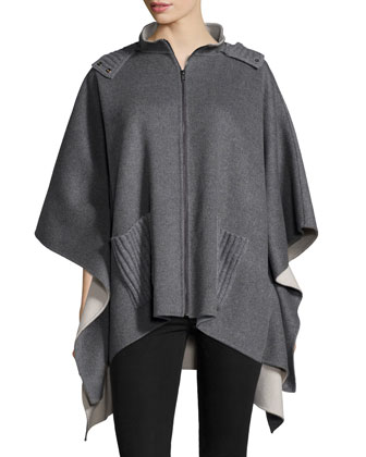 Hooded Cashmere Zip Poncho