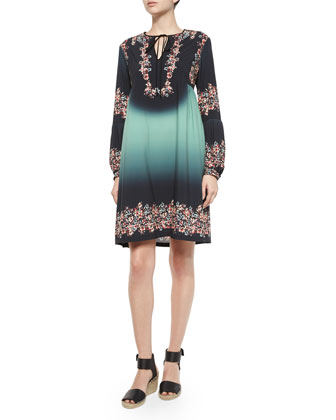 Floral-Print Autumn Ombre Dress, Green