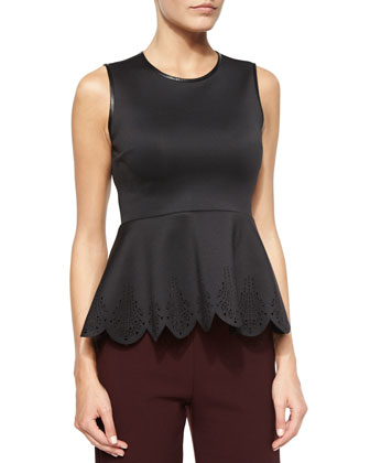 Scuba Jersey Peplum Top, Black