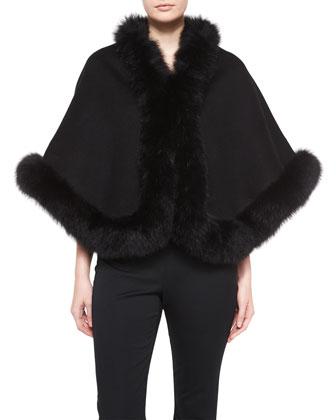 Cashmere Fox-Trim Short Cape, Black