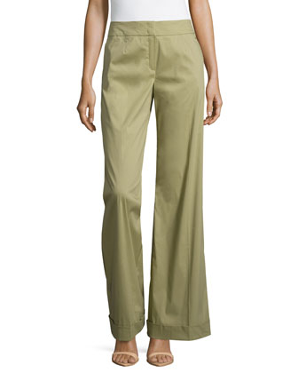 Wide-Leg Flared Pants, Cactus