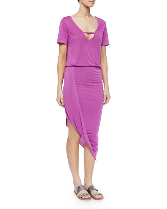 Paolo Asymmetric Jersey Dress, Orchid