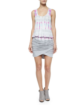 Elize Tie-Dye Dress w/ Contrast Skirt, Orchid Bamboo Wash