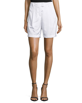 Pleated-Front Woven Shorts, White