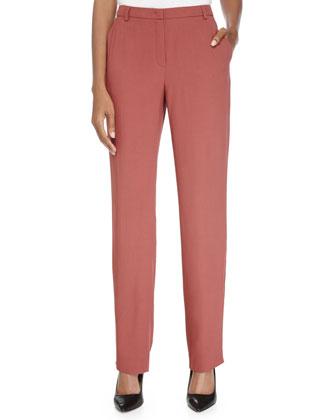Straight-Leg Woven Pants, Litchi