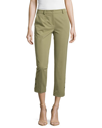 Cropped Pants w/Button Detail, Cactus