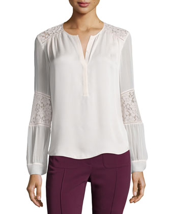 Long-Sleeve Silk & Lace Blouse, Malt Ball