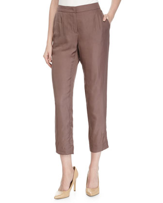 Tapered-Leg Cropped Pants, Henna