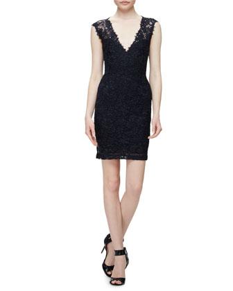 Sleeveless Lace Sheath Cocktail Dress