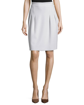 Pleated-Front Mid-Rise Skirt, Opal