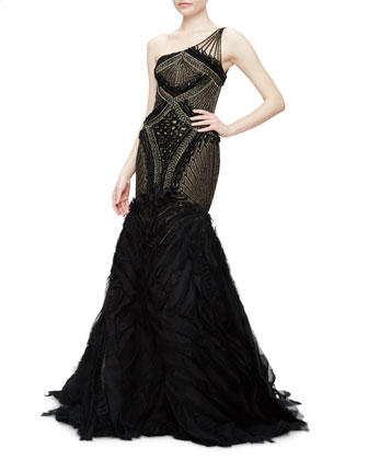 One-Shoulder Embroidered Trumpet Gown